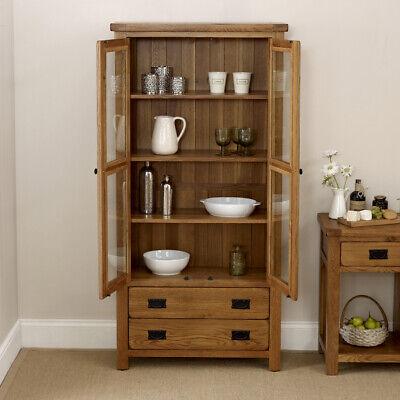 Rustic Oak Glazed Display Cabinet Dining Room Rs18