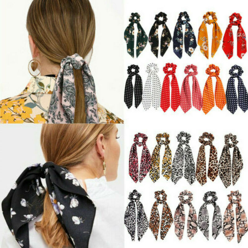 Attractive Ponytail Scarf Bow Hair Rope Tie Scrunchies Ribbon Elastic Hair Bands 2