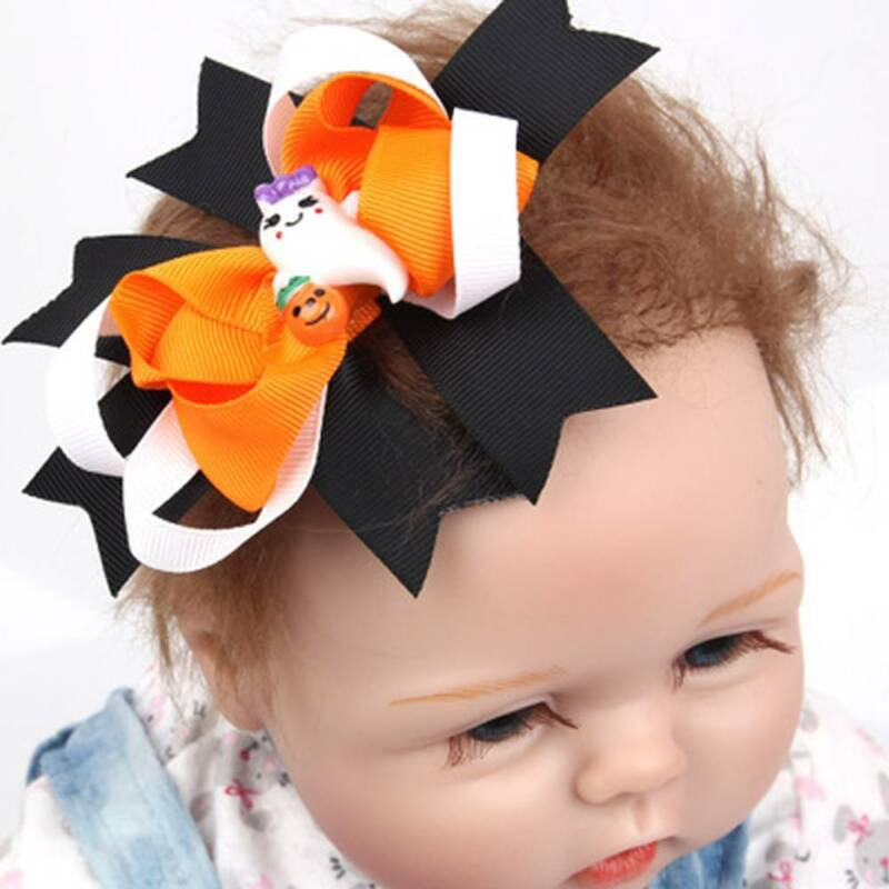 Halloween Cloth Bat Bow Ghost Hairpin Hair Clips Children Hair Accessories Cute 2