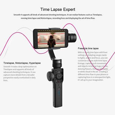 Zhiyun Smooth 4 Black Gimbal Stabilizer for Smartphones Camera NY STOCK 7