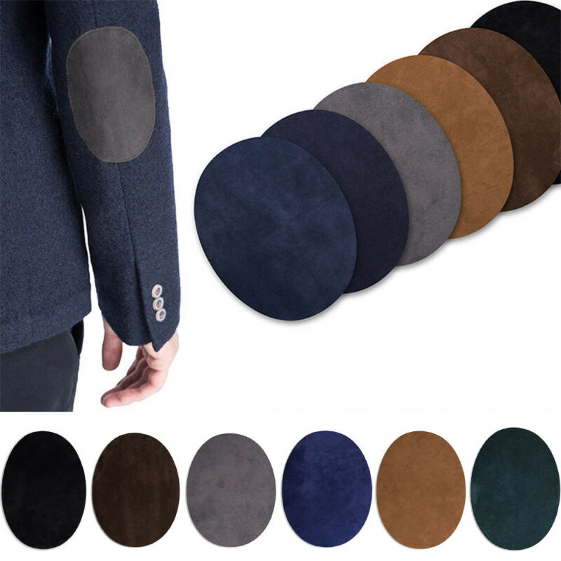 2Pcs Iron-on Oval Flocking Clothes Repair Sewing Elbow Patches 2