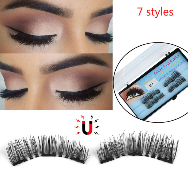 b2a0591d015 1 of 12FREE Shipping Glue-free Triple Magnetic False Eyelashes Natural  Thick Cross Long Lashes 4 Pcs