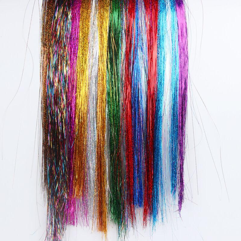 100 Strands Hair Tinsel Bling Silk Hair Flare Strands Glitter Rainbow Hair Decor 8