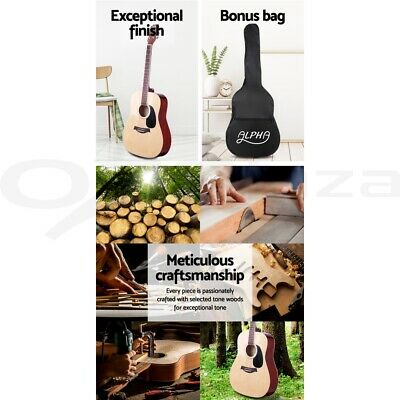 "Alpha 41"" Inch Wooden Acoustic Guitar Classical Folk Full Size w/ Bag Capo Blue 4"
