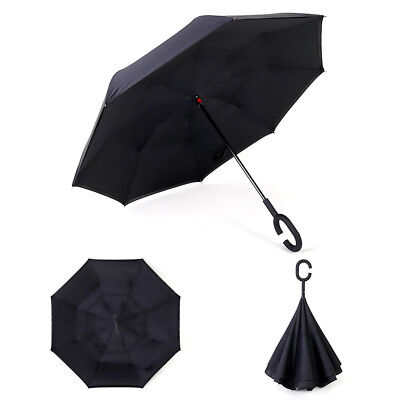 Windproof Upside Down Reverse Umbrella Double Layer Inside-Out Inverted C-Handle 6