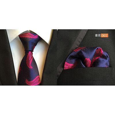 Men Classic Silk Paisley Tie Jacquard Woven Necktie Pocket Square Handkerchief 2