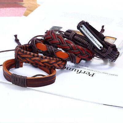 6pcs Fashion Men's Leather Wrap Braided Wristband Cuff Punk Wide Bracelet Bangle 4