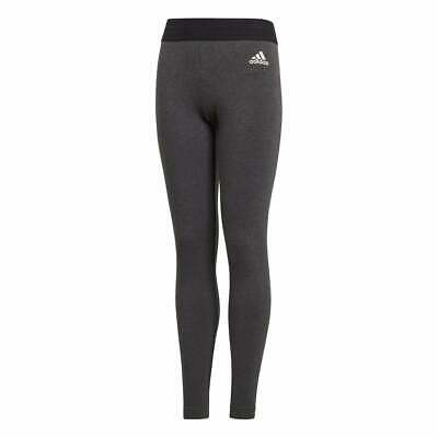 Adidas Girls ID Linear Tights Training Running Sports Grey Climalite Cotton new 2