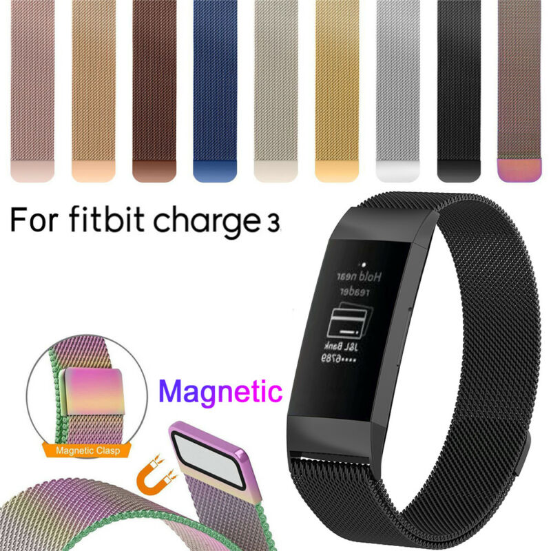 Stainless Steel Magnetic Milanese Band Strap Wristband For Fitbit Charge 3 New 2