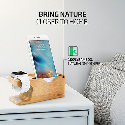 Spigen® Apple Watch and iPhone Stand [S370] Bamboo Charging Dock Station 2