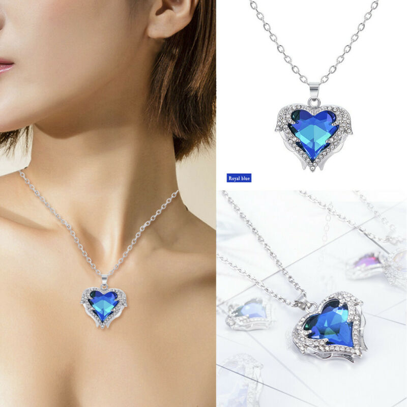 925 Silver Angel Wing Necklace Heart Rhinestone Crystal Chain Pendant Jewelry 6