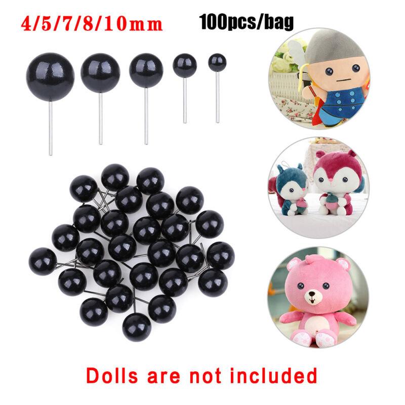 100Pcs Black Glass Dolls  Eyes Needle Felting For Bears Animals4/5/7/8/10mm 4