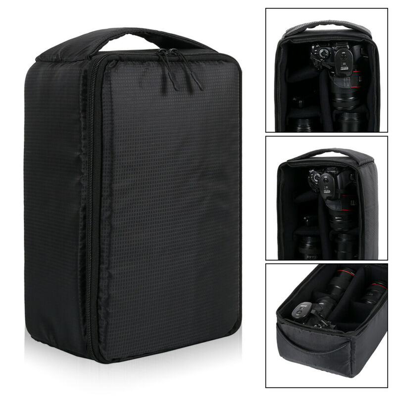 UK Camera Bag Padded Insert Carry Case Container For DSLR SLR Canon Nikon Lens