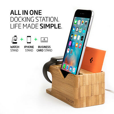 Spigen® Apple Watch and iPhone Stand [S370] Bamboo Charging Dock Station 4