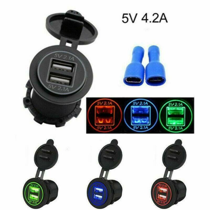 12V Car Cigarette Lighter Socket Dual USB Charger Splitter Adapter LED Voltmeter 2