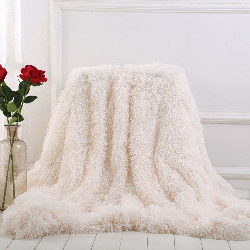 Faux Fur Blanket Long Pile Throw Sofa Bed Super Soft Warm Shaggy Cover Luxury 8