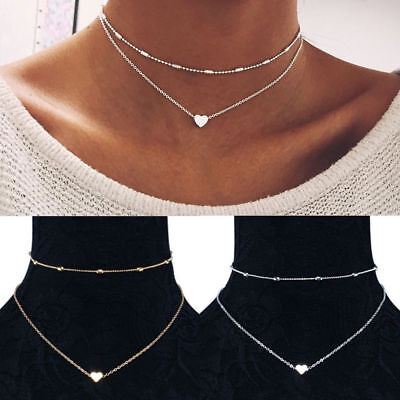 Fashion Simple Double layers chain Heart Pendant Necklace Choker Women Jewelry 11