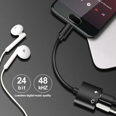 2in1 USB Type-C to 3.5mm Headphone Jack Adapter AUX & Sync Data Charge Cable 6