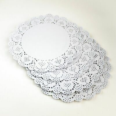 """100x 9.5""""(24cm) Round White Paper Doilies Lace Pattern Coasters Table Mats Cover 3"""