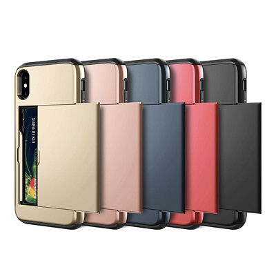 iPhone X XS Max XR 8 7 Case Slide Armor Wallet Card Slots Holder Cover for Apple 2