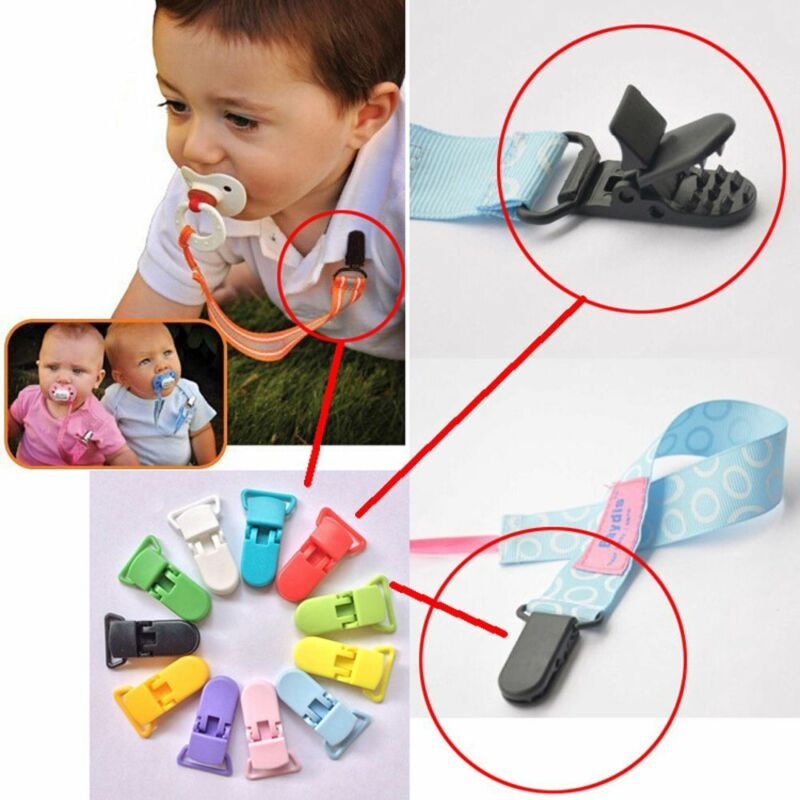 10pcs Colore Plastic Suspender Soother Pacifier Holders Dummy Clips For Baby 2