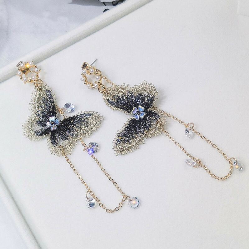 Fashion Embroidery Butterfly Crystal Tassel Drop Dangle Earrings Chain Jewelry 2
