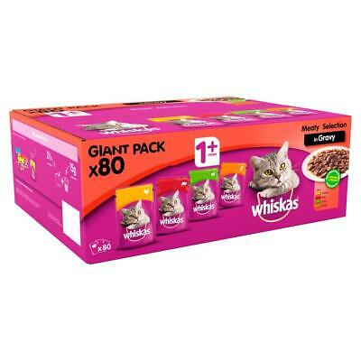 Whiskas 1+ Adult Wet Cat Food Pouches Meat Selection In Gravy 80x100g Pouches 3