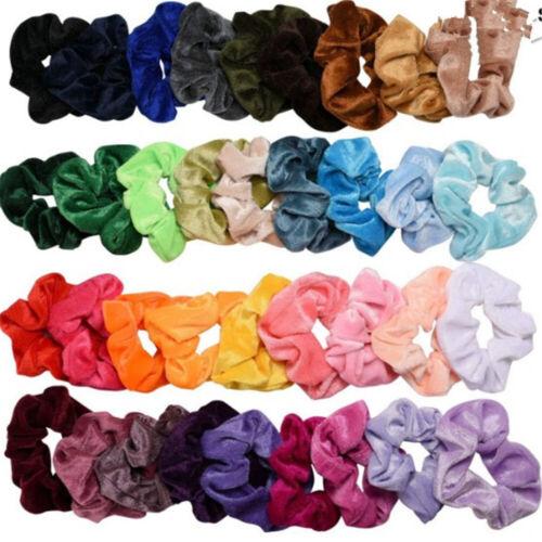 Set of 20 Lady Velvet Hair Scrunchies Elastic Scrunchy Bobble Ponytail Holder G 2