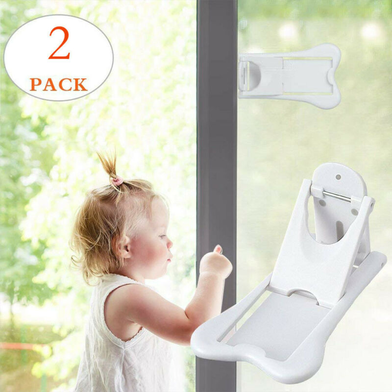 2Pcs Sliding Door Lock for Child Safety Baby Proof Doors & Closets Childproof 4