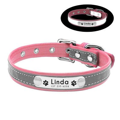Reflective Personalised Dog Collar Cat Puppy Small Dog Collar Name Phone Engrave 9