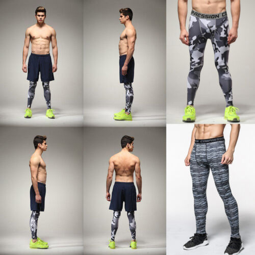 Men Fitness Jogger Pants Tight Compression Base Layer GYM Sport Workout Leggings 6 6 of 12 ...