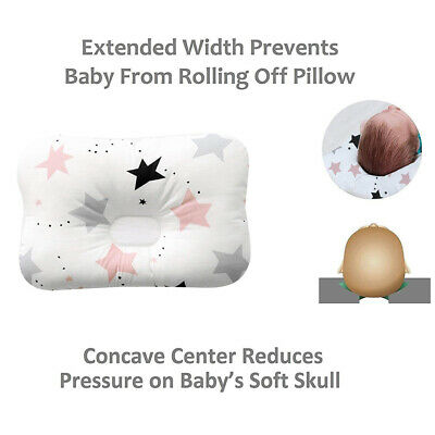 UK Cotton Newborn Baby Infant Pillow Positioner Prevent Flat Head Anti Roll Home 2