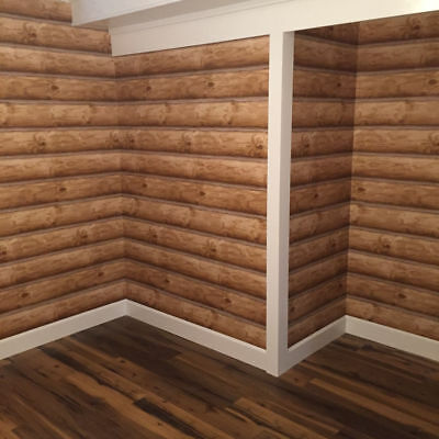Log Cabin Wallpaper  REAL LOG LOOK  Rustic Wall Paper DOUBLE ROLL Prepasted