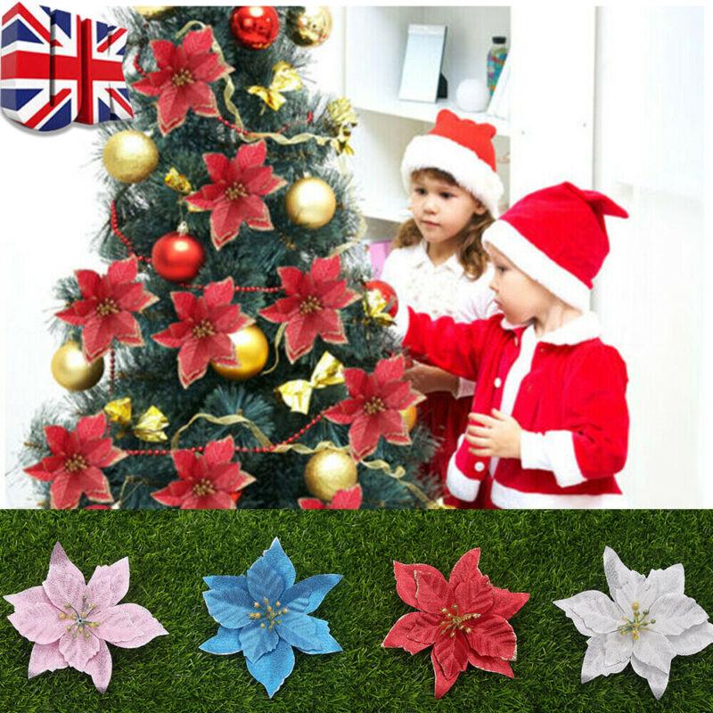 10x Artificial Christmas Tree Flowers 11cm Glitter Poinsettia Xmas Decoration UK