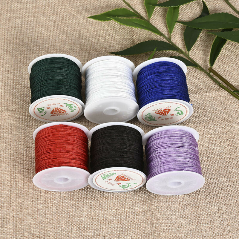0.8mm Nylon Cord Thread Chinese Knot Macrame Rattail Bracelet Braided String 45M 8