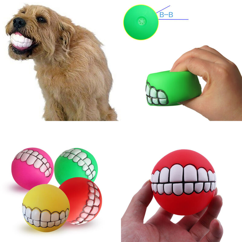 Puppy Pet Dog Colorful Dental Teething Healthy Teeth Chew Training Play Ball Toy 8