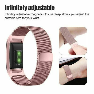 For Fitbit Charge 2 Strap Replacement Milanese Band Metal Stainless Steel Magnet 11