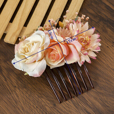 Women's Flower Hair Comb Slide Clips Pins Wedding Bridal Hair Accessories Party 2