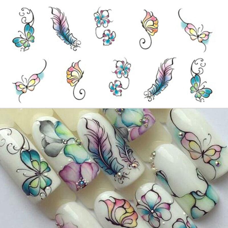 Nail Art Sticker Flowers Butterfly Design Water Transfer Nail Art Decals Decor 7