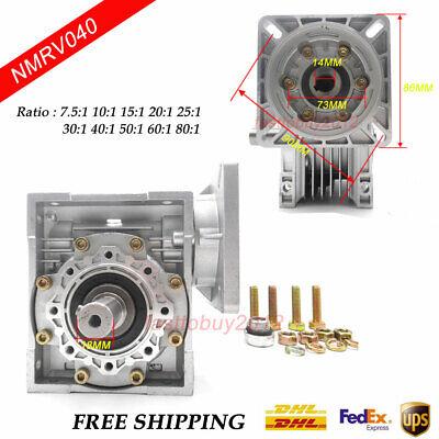 Worm Gear Reducer RV040 NEMA24/34 Speed Gearbox 10 15 20 25 30 40 50 60 80 100:1 2