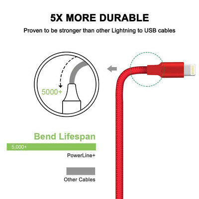 For iPhone 6 7 8 iPhone XS XR 5 Lightning Charger Cable Heavy Duty Charging Cord 4