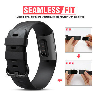 Fitbit Charge 3 Watch Band Strap Replacement Wristband Soft Silicone Bracelet 7