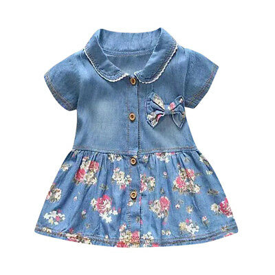Kids Baby Girls Short Sleeve Princess Dress Outfit Denim Party Sundress Clothes 3
