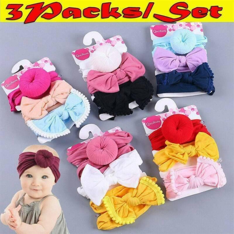 3Pc Kids Baby Girls Toddler Bow Hair band Headband Stretch Turban Knot Head Wrap 5