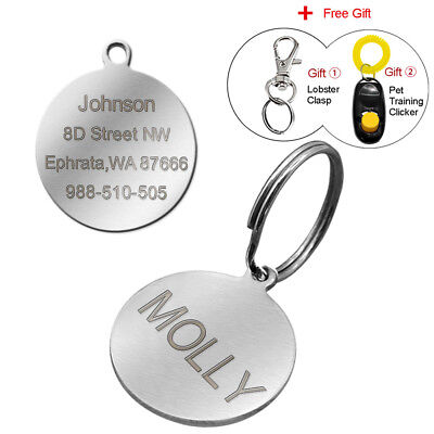 Engraved Pet Dog Tags Custom Cat ID Name Tags for Pets Personalized FREE S M L 10