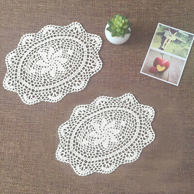 "4Pcs/Lot White Cotton Lace Vintage Hand Crochet Doilies Oval Placemats 10""x13"" 4"