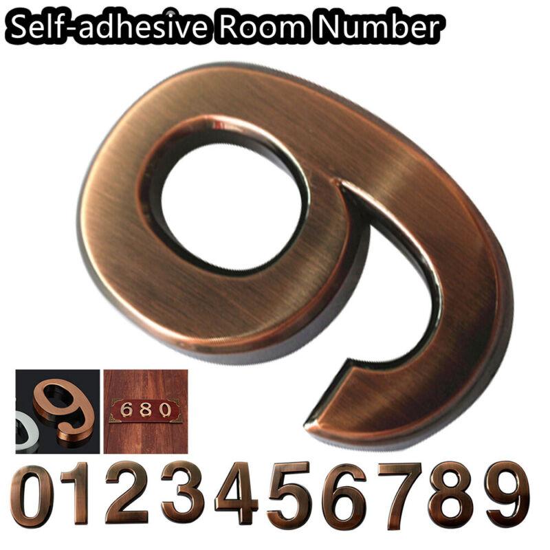 0-9 Bronze Self-adhesive ABS Plastic Door Numbers House Address Number Stickers 5