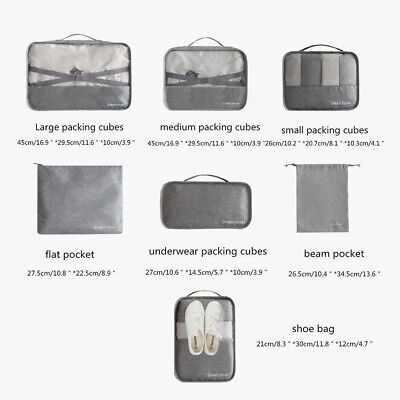 7Pcs Packing Cubes Travel Pouches Luggage Organiser Clothes Suitcase Storage Bag 4