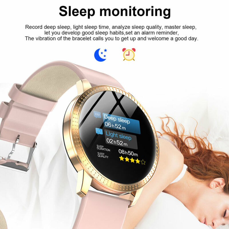 Waterproof Smart Watch Fitness Tracker Blood Pressure Heart Rate Tempered Mirror 5