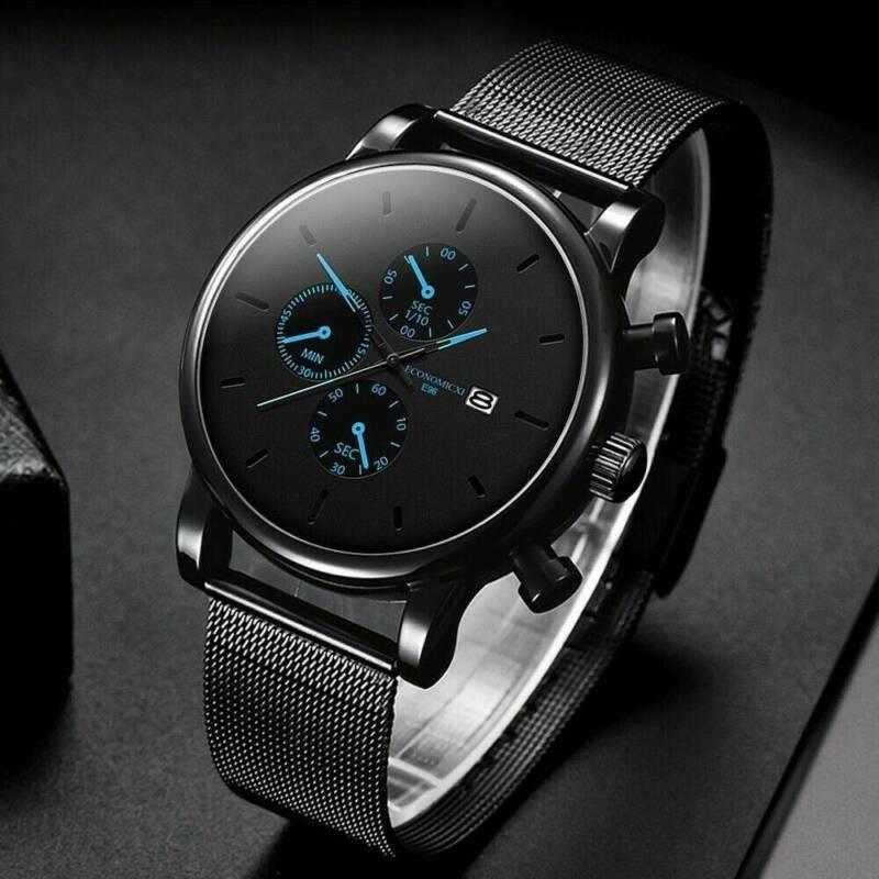 Mens Watch Military Stainless-Steel Date Sport Quartz Analog Fashion Wrist Watch 4